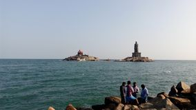 Wschód słońca, zmierzch, przylądka comorin, Kanyakumari, Tamilnadu Obraz Royalty Free
