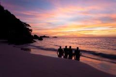 Wschód słońca & rodzina Obrazy Royalty Free