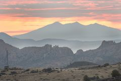 Wschodów słońca Dells Granitowe góry, prescott, Arizona usa Zdjęcia Royalty Free