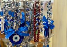 Wschodni amulet błękitny szkło przeciw złemu oku fotografia stock