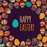 wschodni jaj również zwrócić corel ilustracji wektora Wektoru wzór z kolorowymi jajkami na BROWN tle ilustracja wektor