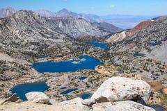 Wschodni sierra jezioro od wysokości na biskup przepustce wlec, CA Obraz Stock