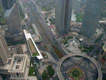 Wschodni Szanghaj odgórny widok Fotografia Stock