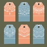 Wschodni wystrój z monogramami Rocznik ustawiający ornamentacyjne etykietki Szablon etykietki dla kart ilustracji