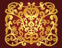 Wschodni złocisty ornament na claret tle royalty ilustracja