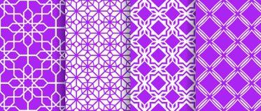 Wschodnia bezszwowa deseniowa kolekcja Wektorowy azjatykci geometryczny tło Modni fiołków kolory islamski tło Arabski szablon orn royalty ilustracja
