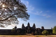 Wschodnia brama Angkor Wat w Siem Przeprowadza żniwa Kambodża Obrazy Stock