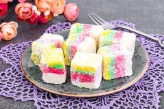 Wschodnich cukierków Turecki zachwyt w kolorów kokosowych układach scalonych Obraz Stock