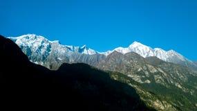 Wschodu słońca above szczyt w himalaje pasmie, Nepal Obraz Stock