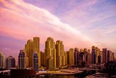 Wschodu słońca Dubaj Marina Zdjęcie Royalty Free