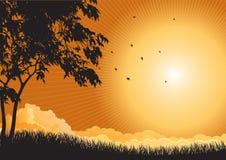Wschodu słońca krajobraz ilustracja wektor