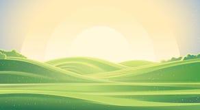 Wschodu słońca krajobraz, natury tło royalty ilustracja