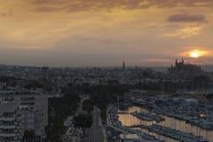 Wschodu słońca Marina i portu Palmy Majorca schronienia Balearic wyspa obraz stock