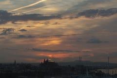 Wschodu słońca Marina i portu Palmy Majorca schronienia Balearic wyspa zdjęcia stock