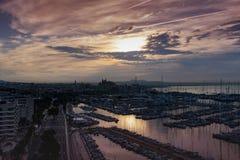 Wschodu słońca Marina i portu Palmy Majorca schronienia Balearic wyspa zdjęcie stock