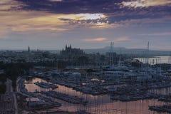 Wschodu słońca Marina i portu Palmy Majorca schronienia Balearic wyspa fotografia royalty free
