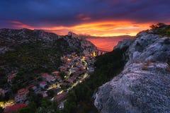 Wschodu słońca Marseille los angeles Vesse Fotografia Royalty Free