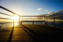 Wschodu słońca molo Obrazy Royalty Free