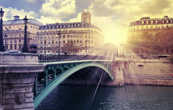 Wschodu słońca Paris rzeka Obrazy Stock