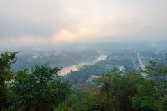 Wschodu słońca punkt widzenia przy Luang Prabang, Laos Zdjęcia Stock