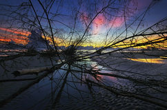 Wschodu słońca Sri Tujuh plaża Obraz Stock