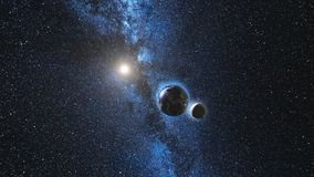 Wschodu słońca widok na planety ziemi i księżyc satelicie ilustracja wektor
