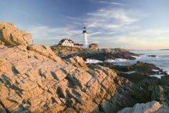 Wschodu słońca widok Portland głowy latarnia morska, przylądek Elizabeth, Maine obrazy royalty free