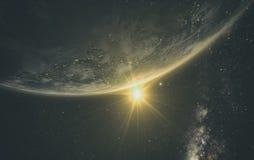 Wschodu słońca widok ziemia od przestrzeni royalty ilustracja