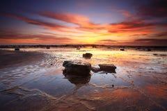 Wschodów słońca odbicia przez Długiego Rafowego Australia Zdjęcia Royalty Free