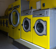 Wshing machines in a public laundromat Royalty Free Stock Image