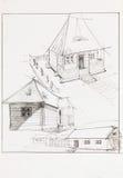 Wsi domowa i drewniana stajnia ilustracji