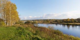 Wsi jesieni krajobraz Zdjęcia Royalty Free