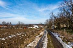 Wsi ziemia blisko łąki i pola Gospodarstwa rolnego i rolnictwa technologia Typowy czeski wieś krajobraz Zdjęcie Royalty Free