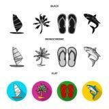 Wsiada z żaglem, drzewko palmowe na brzeg, kapcie, biały rekin Surfować ustalone inkasowe ikony w czarnym, mieszkanie ilustracji