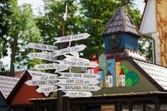 Wskaźnik odległości miasta, Rosja Zdjęcie Stock