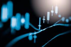 Wskaźnika wykres rynku papierów wartościowych wskaźnika pieniężna analiza na DOWODZONYM Zdjęcia Royalty Free