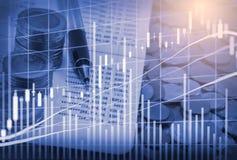 Wskaźnika wykres rynku papierów wartościowych wskaźnika pieniężna analiza na DOWODZONYM Obraz Stock