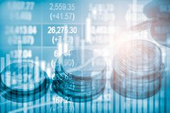 Wskaźnika wykres rynku papierów wartościowych wskaźnika pieniężna analiza na DOWODZONYM Zdjęcie Stock