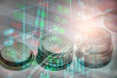 Wskaźnika wykres rynku papierów wartościowych wskaźnika pieniężna analiza na DOWODZONYM Obraz Royalty Free