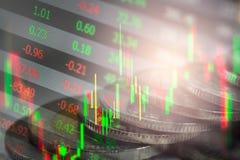 Wskaźnika wykres rynku papierów wartościowych wskaźnika pieniężna analiza na DOWODZONYM Obrazy Stock