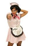 Wskazywać młodej kelnerki Zdjęcie Royalty Free