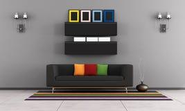 Współczesny żywy pokój z czarną leżanką ilustracja wektor