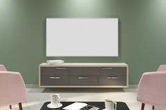 Współczesny ciemny wnętrze z pustym whiteTV Obrazy Stock