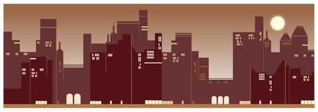 Współczesny miasto zmierzchu widoku tło ilustracji