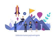 Współpraców ludzie biznesu pracują wpólnie Wspólny biznesowy partnerstwo z kolegami ilustracji