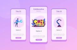 Współpracujący robotyki app interfejsu szablon ilustracji