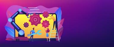 Współpracujący robotyki pojęcia sztandaru chodnikowiec ilustracja wektor