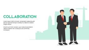 WSPÓŁPRACY dwa dużego szefa biznesmen trząść ręki kolaboruje budować silnego biznes z wzrostowym biznesowym budynku tłem ilustracji