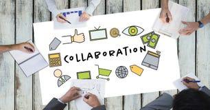 Współpracy tekst ikonami i ludźmi biznesu na stole ilustracji