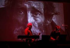 Współsprawcy sprawa żywa przy Międzynarodową Multimedialną prezentacją - Nastrojowy festiwal Gorlice Polska zdjęcie stock